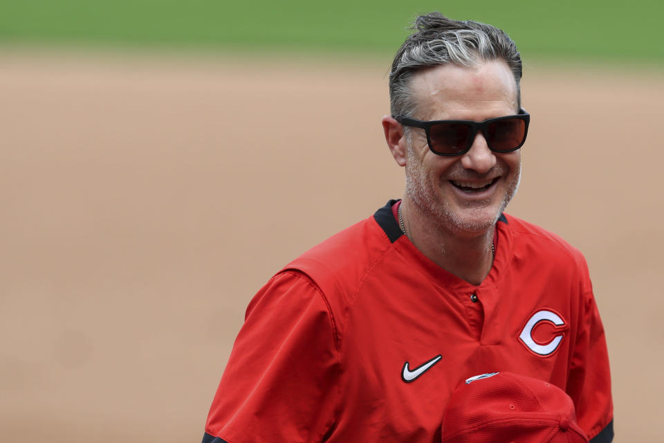 Cincinnati Reds' manager David Bell reacts to his team as he stands on the field during team baseball practice at Great American Ballpark in Cincinnati, Friday, July 3, 2020. (AP Photo/Aaron Doster)