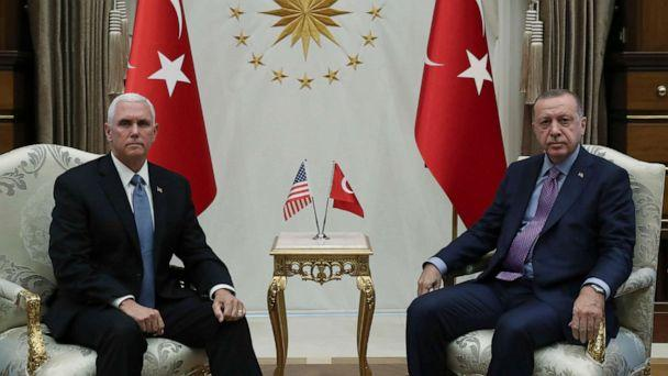PHOTO: Vice President Mike Pence, left, and Turkish President Recep Tayyip Erdogan pose for photos before their talks at the presidential palace, in Ankara, Turkey, on Oct. 17, 2019. (Presidential Press Service via AP, Pool)