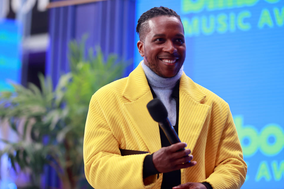LOS ANGELES, CA - MAY 23:  2021 BILLBOARD MUSIC AWARDS -- Pictured: Leslie Odom Jr. speaks onstage during the 2021 Billboard Music Awards held at the Microsoft Theater on May 23, 2021 in Los Angeles, California. --  (Photo by Emma McIntyre/NBC/NBCU Photo Bank via Getty Images)