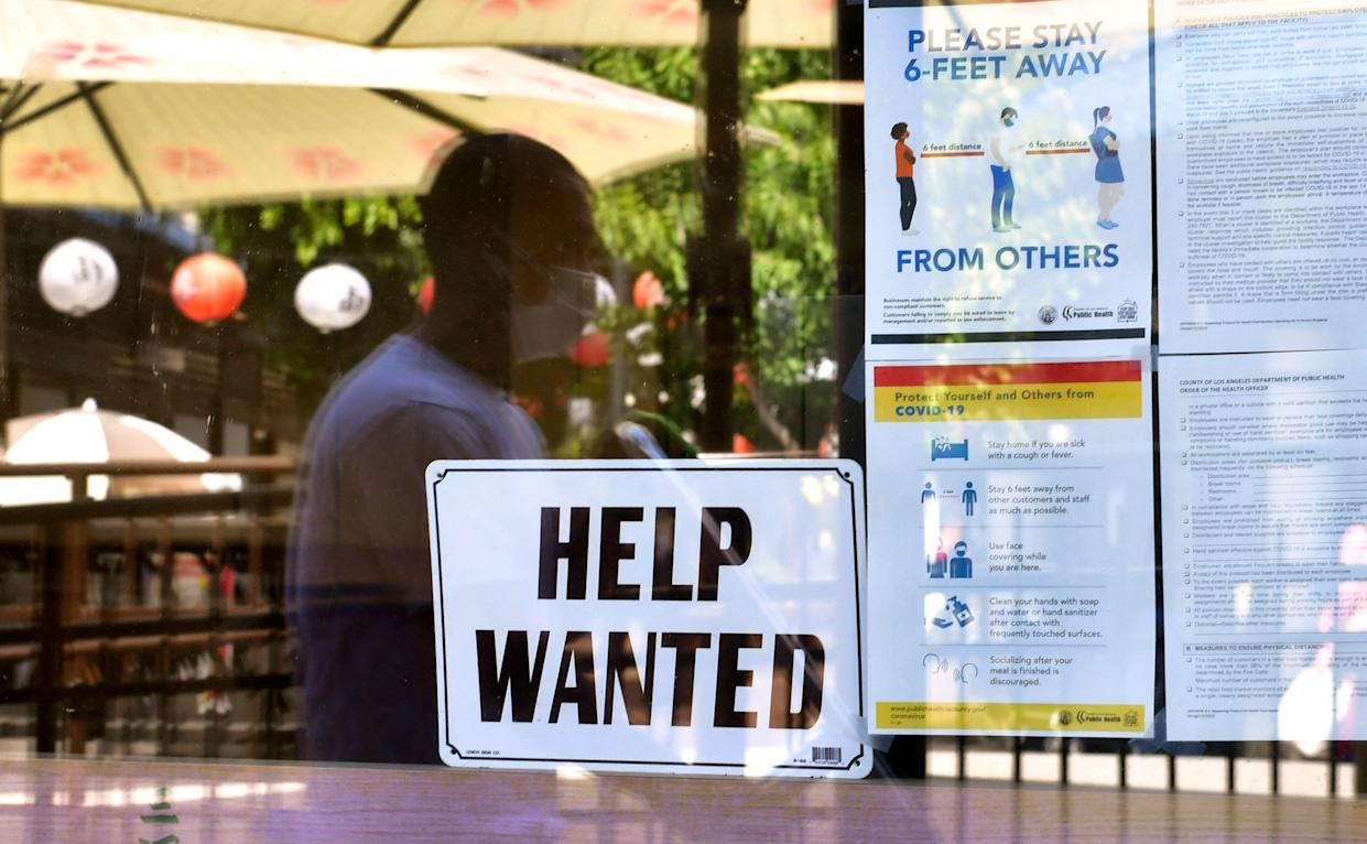 June's non-farm payroll is expected to show a jump of around 690,000 jobs last month, up from the 559,000 recorded in May, with the unemployment rate falling to 5.7%. Photo: Frederic J Brown/AFP