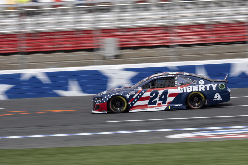 William Byron during qualifying for the NASCAR Cup Series auto race at Charlotte Motor Speedway on Saturday, May 29, 2021 in Charlotte, N.C. (AP Photo/Ben Gray)