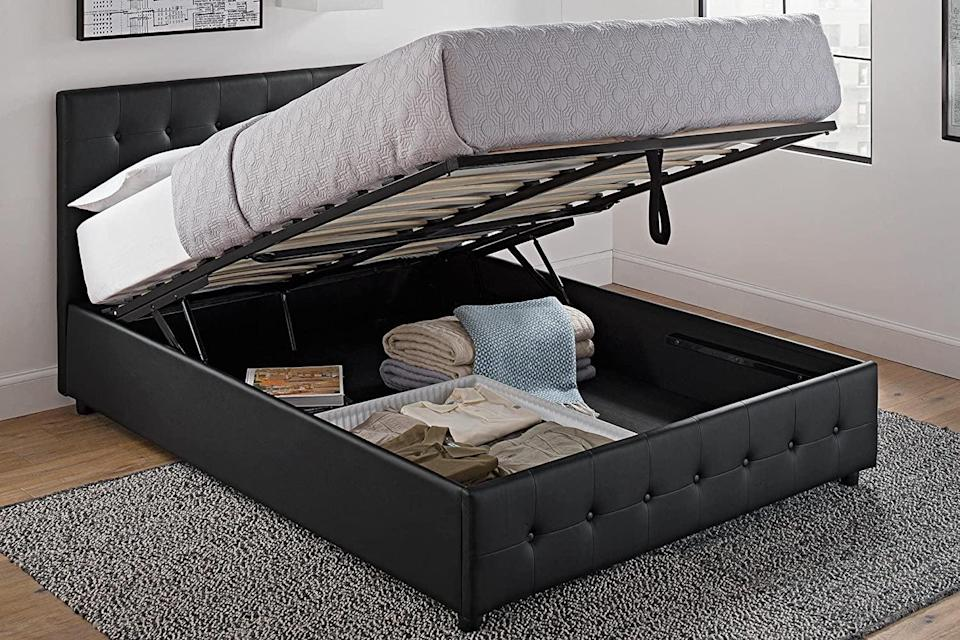 <p>This <span>DHP Cambridge Upholstered Faux Leather Platform Bed</span> ($457) is so cool.</p>