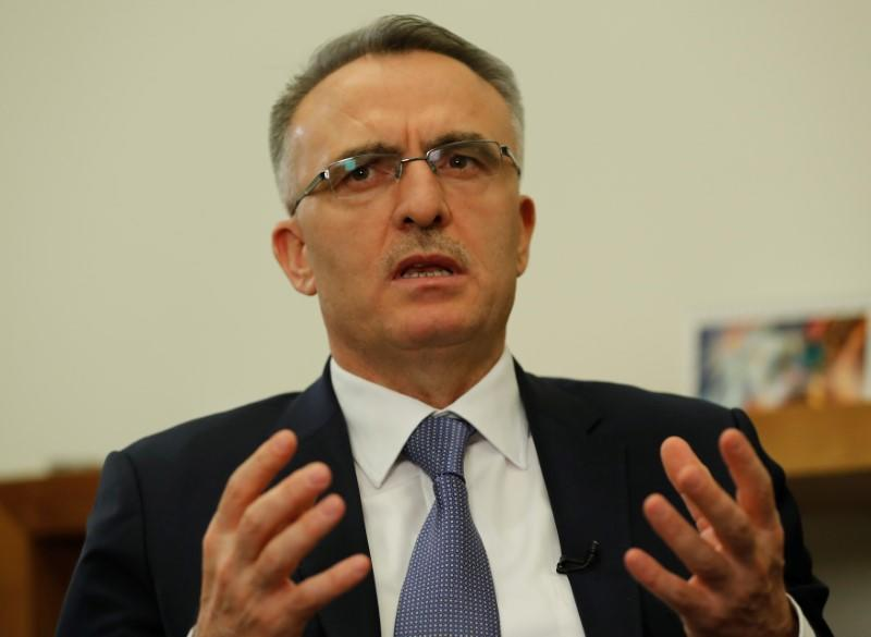 Turkey's Finance Minister Naci Agbal is pictured during an interview with Reuters in Istanbul