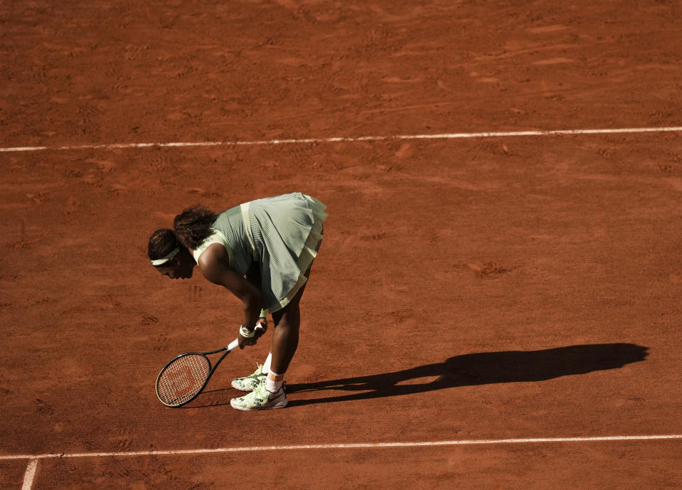 United States Serena Williams reacts after missing a shot as she plays against Kazakhstan's Elena Rybakina during their fourth round match on day 8, of the French Open tennis tournament at Roland Garros in Paris, France, Sunday, June 6, 2021. (AP Photo/Thibault Camus)