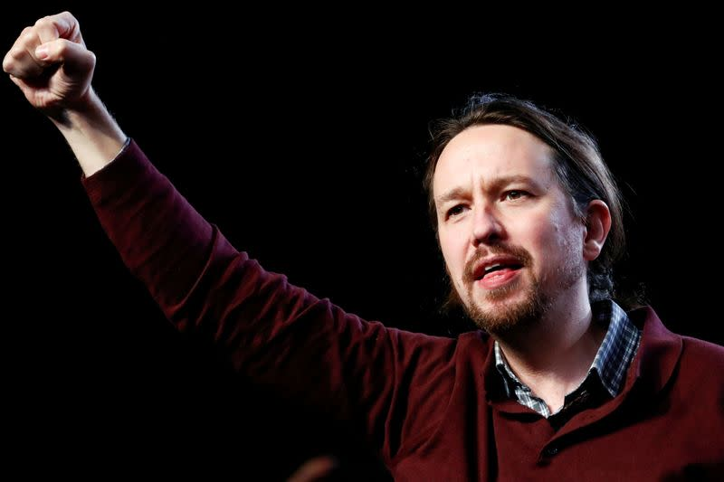 FILE PHOTO: Unidas Podemos (Together We Can) leader Pablo Iglesias attends a campaign closing rally ahead of general election, in Madrid