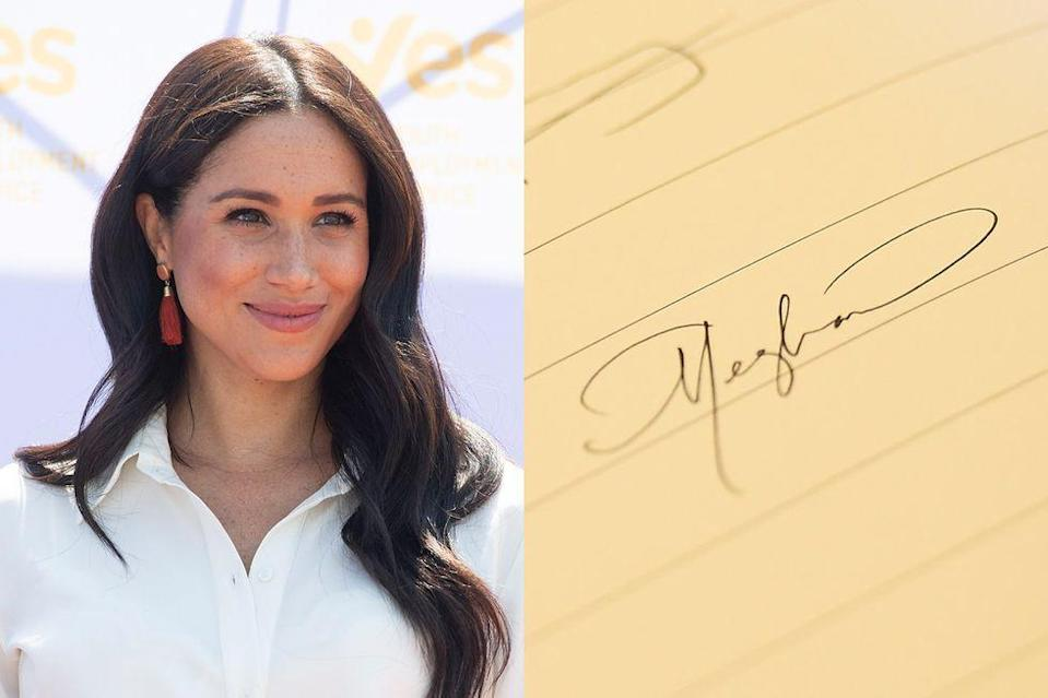 """<p>Meghan actually <a href=""""https://www.townandcountrymag.com/society/tradition/a19748646/meghan-markle-calligraphy-paula-patton-wedding-invitations/"""" rel=""""nofollow noopener"""" target=""""_blank"""" data-ylk=""""slk:boasts professional calligraphy experience"""" class=""""link rapid-noclick-resp"""">boasts professional calligraphy experience</a>, so it's hardly surprising that her autograph would be so well-composed. (""""There was not a single mistake, it was truly perfect, impeccable, and I remember being in awe of her,"""" Paula Patton, whose wedding invitations were done by the Duchess, <a href=""""https://www.townandcountrymag.com/society/tradition/a19748646/meghan-markle-calligraphy-paula-patton-wedding-invitations/"""" rel=""""nofollow noopener"""" target=""""_blank"""" data-ylk=""""slk:once told"""" class=""""link rapid-noclick-resp"""">once told </a><em><a href=""""https://www.townandcountrymag.com/society/tradition/a19748646/meghan-markle-calligraphy-paula-patton-wedding-invitations/"""" rel=""""nofollow noopener"""" target=""""_blank"""" data-ylk=""""slk:Town & Country"""" class=""""link rapid-noclick-resp"""">Town & Country</a></em>.)</p>"""