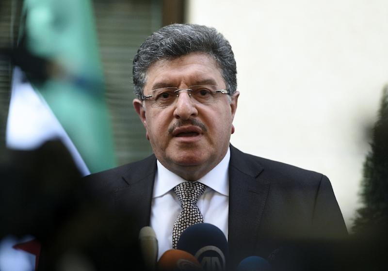 """High Negotiations Committee spokesman Salem al-Meslet, pictured in 2016, told AFP, """"We will not walk away from Geneva or anywhere as long as we see on the horizon a solution for our people"""""""