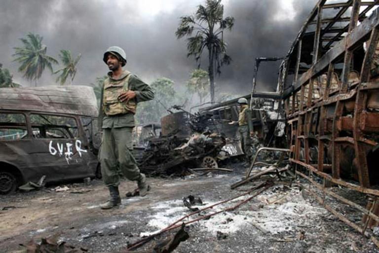 Sri Lankan government forces crushed separatist guerrillas in a military campaign that ended in May 2009
