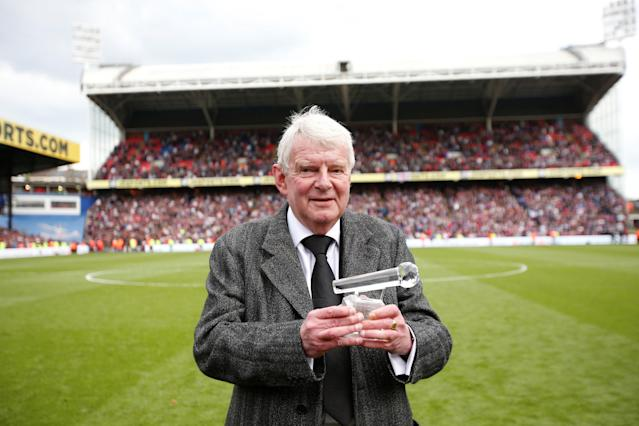 "Soccer Football - Premier League - Crystal Palace vs West Bromwich Albion - Selhurst Park, London, Britain - May 13, 2018 Commentator John Motson holds up an award he was presented after the match Action Images via Reuters/Matthew Childs EDITORIAL USE ONLY. No use with unauthorized audio, video, data, fixture lists, club/league logos or ""live"" services. Online in-match use limited to 75 images, no video emulation. No use in betting, games or single club/league/player publications. Please contact your account representative for further details."