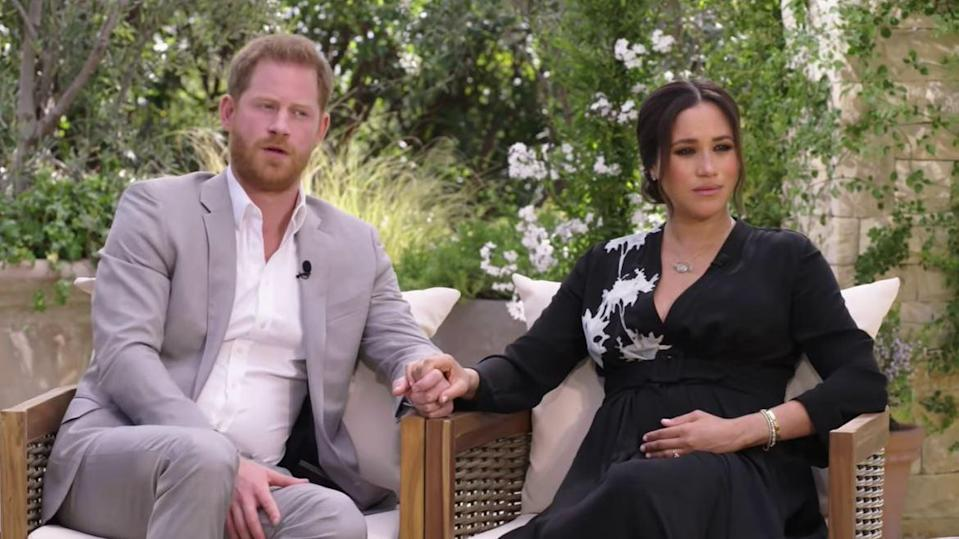 <p>Harry and Meghan will discuss stepping back from royal life in an interview with Oprah Winfrey</p> (CBS)