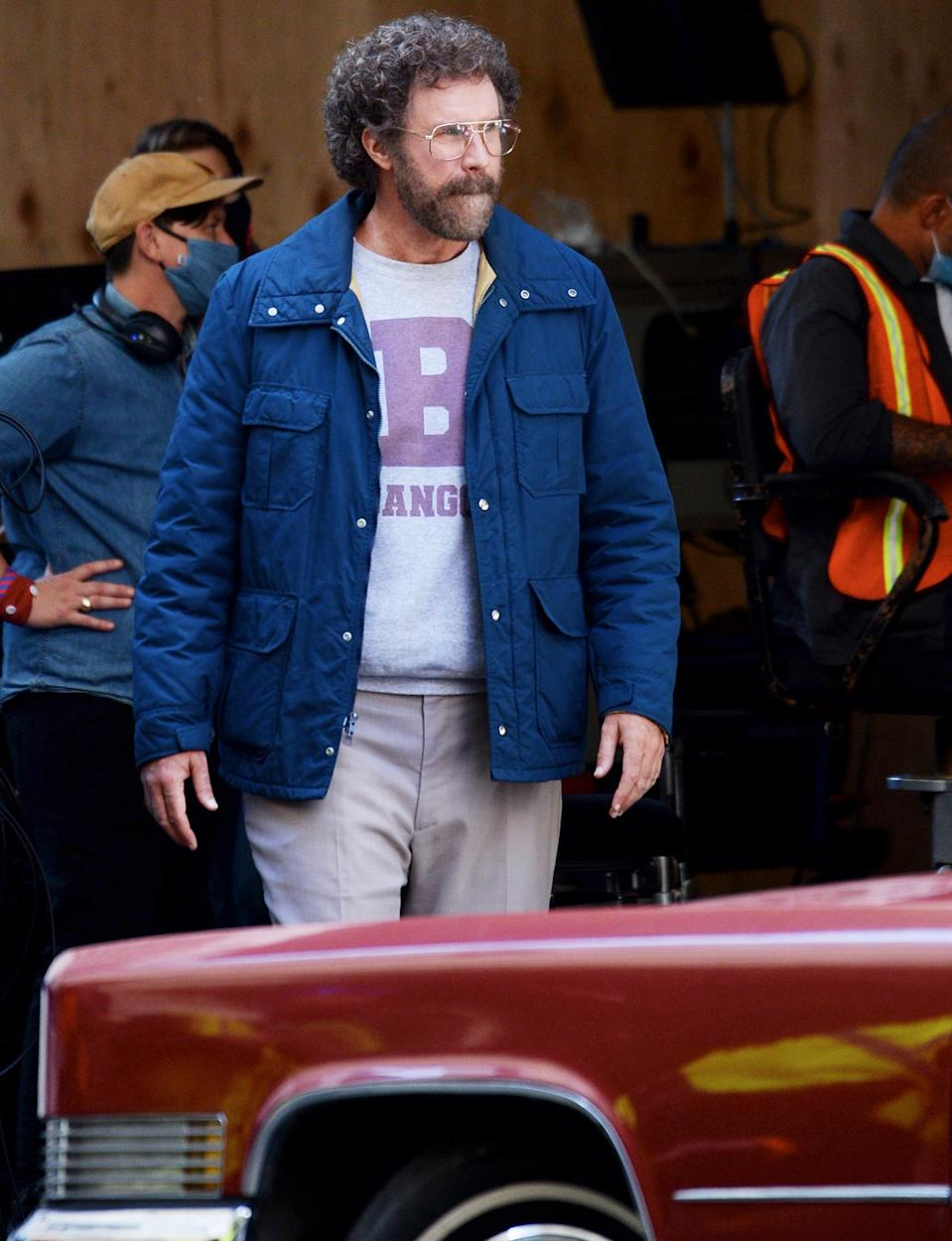 <p>Will Ferrell is seen in character filming his upcoming series <em>The Shrink Next Door</em> on Monday in L.A.</p>