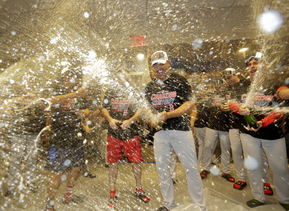 The Red Sox trolled the Yankees during their ALDS celebration. (AP Photo)