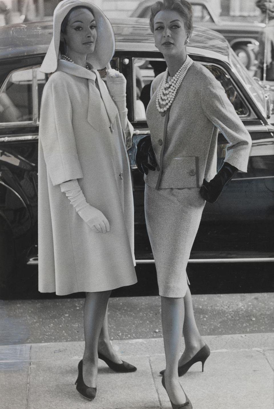 <p>Two dressed up ladies with somewhere to go.</p>
