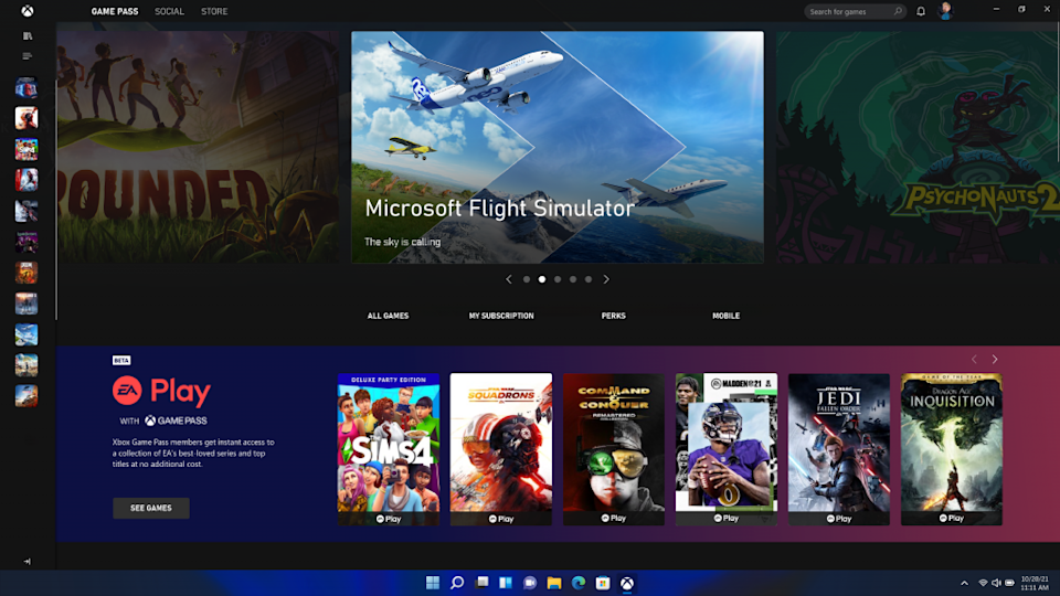 Gaming is a major part of Windows 11 with direct integration for things like Game Pass. (Image: Microsoft)