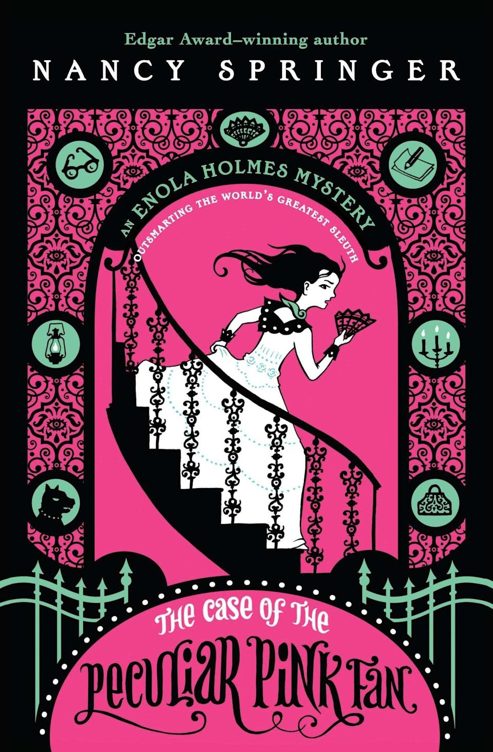 <p>In her next adventure, <span><strong>The Case of the Peculiar Pink Fan</strong></span> ($7), Enola must join forces with her brother in order to save one of her closest friends.</p>