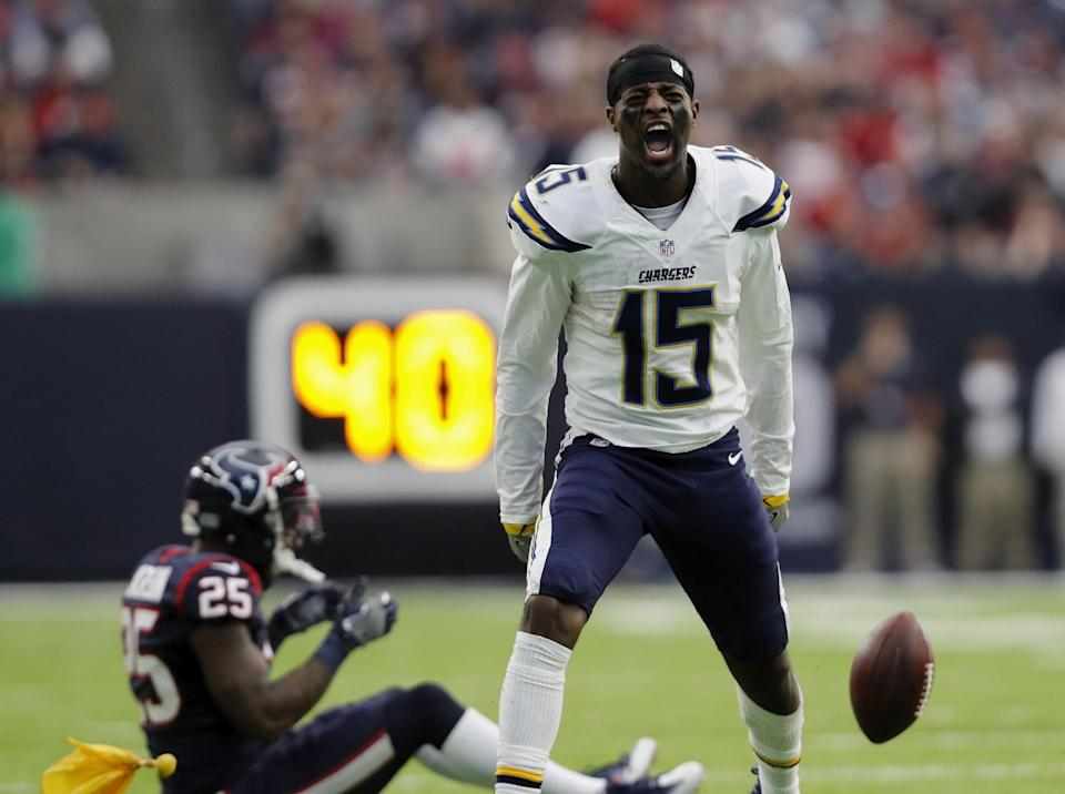 <p>Dontrelle Inman #15 of the San Diego Chargers reacts after an unnessessary roughness penalty by Kareem Jackson #25 of the Houston Texans in the fourth quarter at NRG Stadium on November 27, 2016 in Houston, Texas. (Photo by Tim Warner/Getty Images) </p>