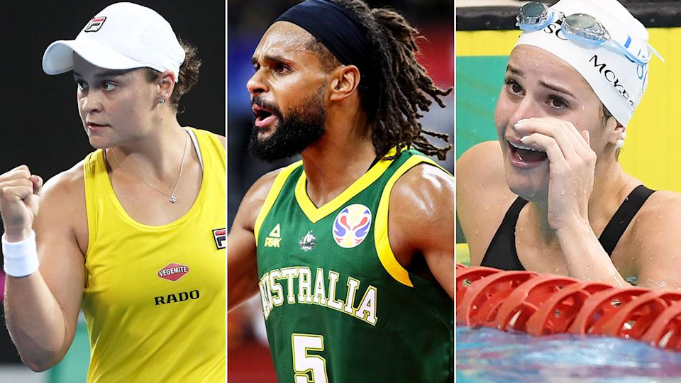 Seen here, Aussie gold medal hopes Ash Barty, Patty Mills from the Boomers and Kaylee McKeown.