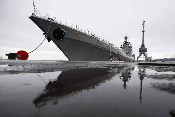 The Northern Fleet's flagship, the Pyotr Veilikiy (Peter the Great) missile cruiser, is seen at its Arctic base of Severomorsk, Russia, Thursday, May 13, 2021. Adm. Alexander Moiseyev, the commander of Russia's Northern Fleet griped Thursday about increased NATO's military activities near the country's borders, describing them as a threat to regional security. (AP Photo/Alexander Zemlianichenko)