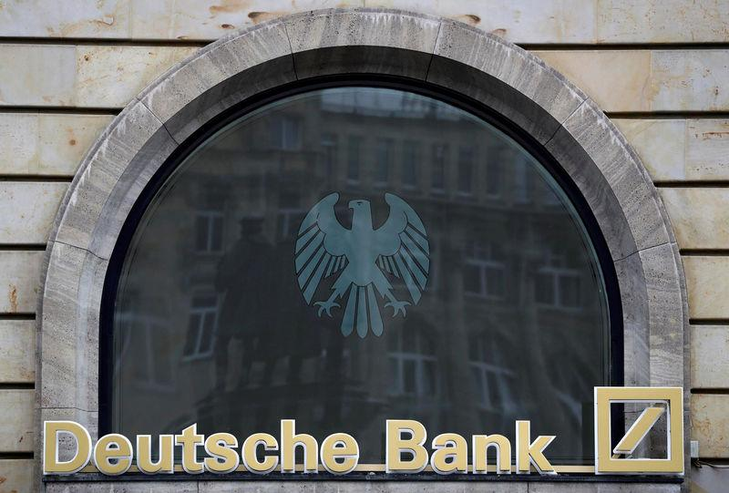 FILE PHOTO: The Deutsche Bank logo is pictured at a branch in Frankfurt, Germany