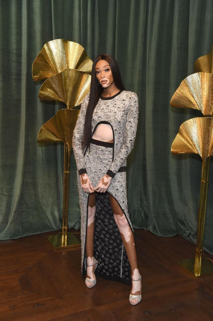 <p>Winnie Harlow looked incredible in a cut-out dress by Balmain. <em>[Photo: Getty]</em> </p>