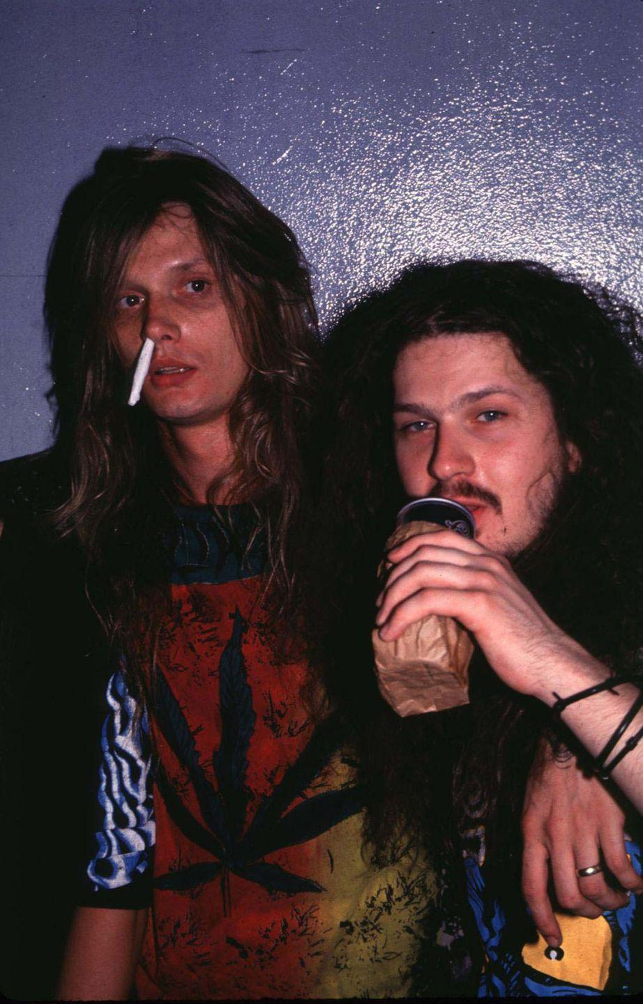 <p>Sebastian Bach of Skid Row with Dimebag Darrel of Pantera at the Limelight in NYC in 1993.</p>