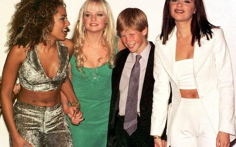Prince Harry with the Spice Girls in 1997 - Credit: John Stillwell/PA Wire