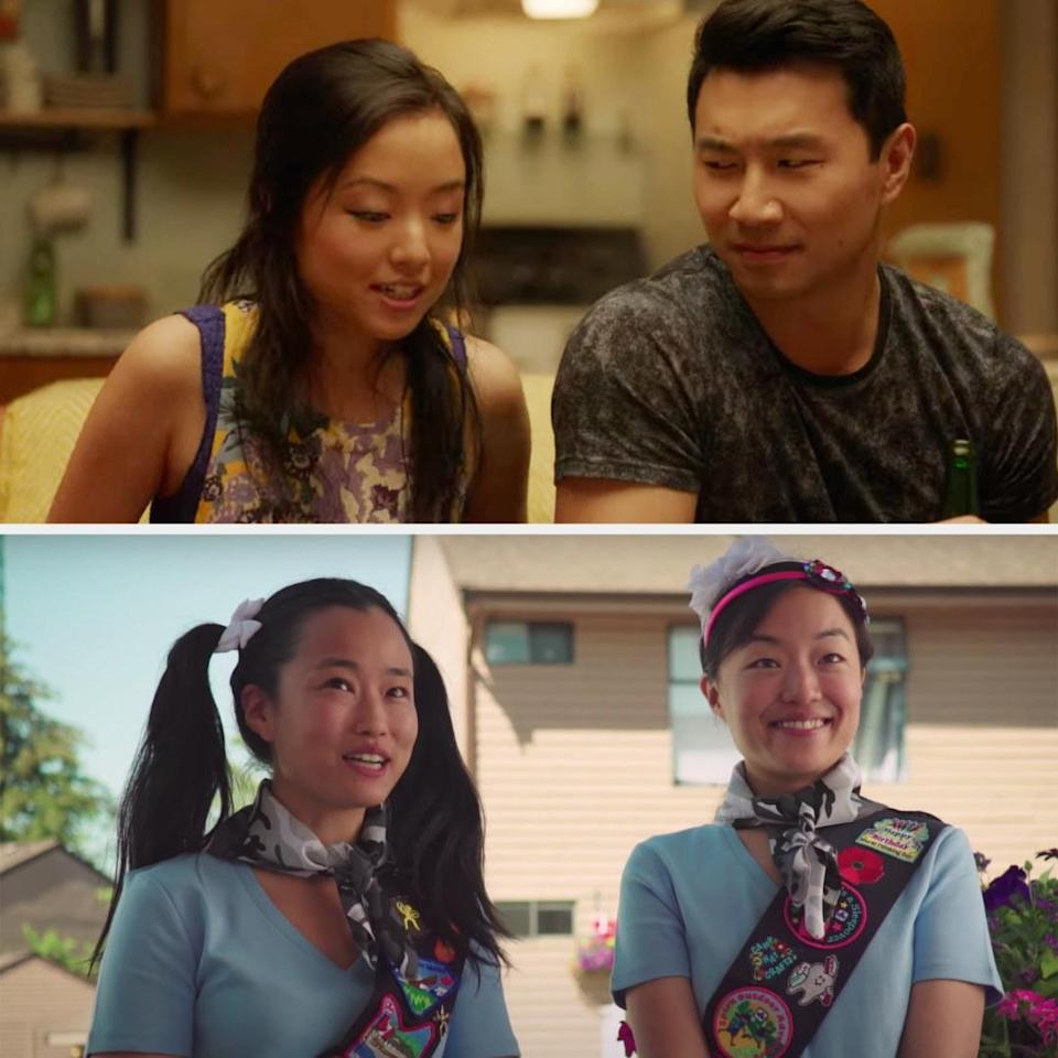Above, Janet is playing a trivia game with Jung. Below, Andrea and Diana are acting as girl scouts in a YouTube sketch.
