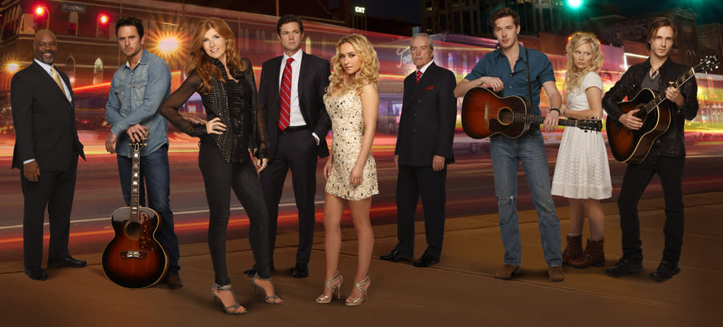 """<b>""""Nashville"""" (Fall Drama)</b><br><br>Chart-topping Rayna James (Connie Britton) is a country legend who's had a career any singer would envy, though lately her popularity is starting to wane. Fans still line up to get her autograph, but she's not packing the arenas like she used to. Rayna's record label thinks a concert tour, opening for up-and-comer Juliette Barnes (Hayden Panettiere), the young and sexy future of country music, is just what Rayna needs. But scheming Juliette can't wait to steal Rayna's spotlight. Sharing a stage with that disrespectful, untalented, little vixen is the last thing Rayna wants to do, which sets up a power struggle for popularity. Could the undiscovered songwriting talent of Scarlett O'Connor (Clare Bowen) be the key to helping Rayna resurrect her career? Complicating matters, Rayna's wealthy but estranged father, Lamar Hampton (Powers Boothe), is a powerful force in business, Tennessee politics, and the lives of his two grown daughters. His drive for power results in a scheme to back Rayna's handsome husband, Teddy, in a run for Mayor of Nashville, against Rayna's wishes."""