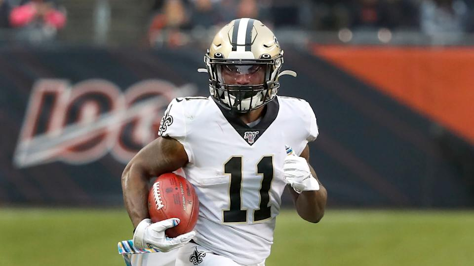 Mandatory Credit: Photo by Charles Rex Arbogast/AP/Shutterstock (10453014b)New Orleans Saints' Deonte Harris carries the ball during the second half of an NFL football game against the Chicago Bears in ChicagoSaints Bears Football, Chicago, USA - 20 Oct 2019.
