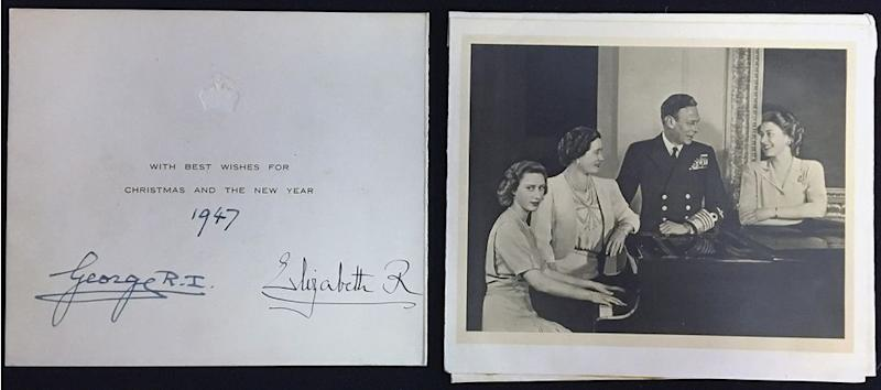 Princess Margaret, the Queen Mother, King George and Princess Elizabeth in 1947's Christmas card | Rowleys/BNPS