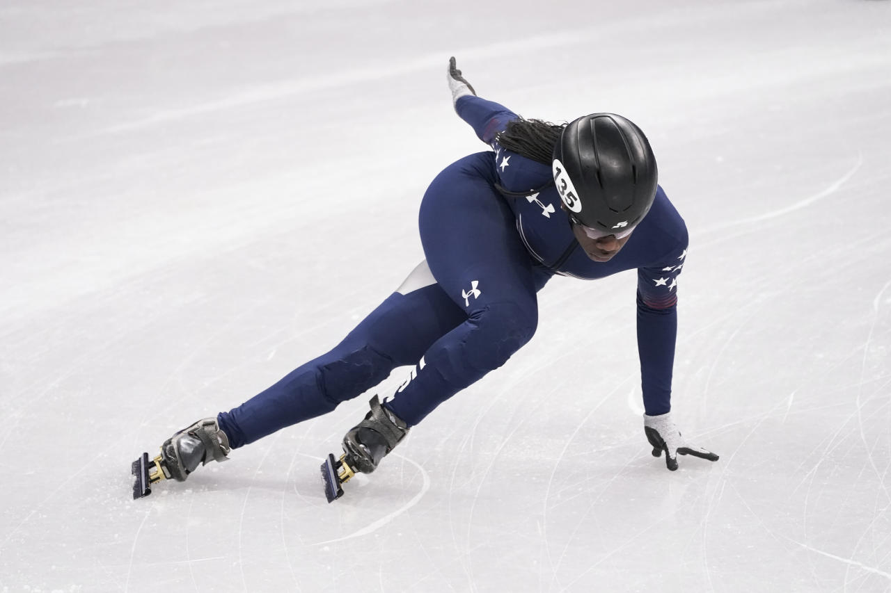 <p>United States' Maame Biney is the first African-American woman to qualify for the U.S. Speedskating team. The Ghana-native secured her Olympic berth by finishing first in the 500m at the U.S. Trials. </p>