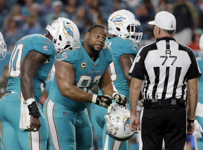 Ndamukong Suh will reportedly be released this week after three seasons in Miami. (AP)