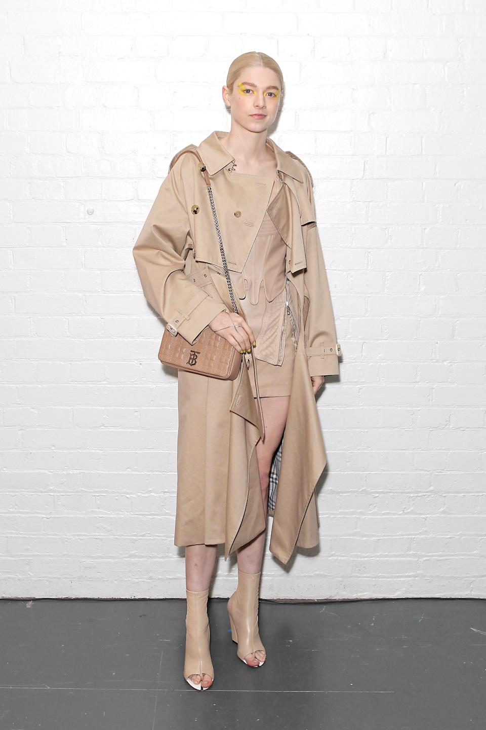 in Burberry at London Fashion Week, 2020