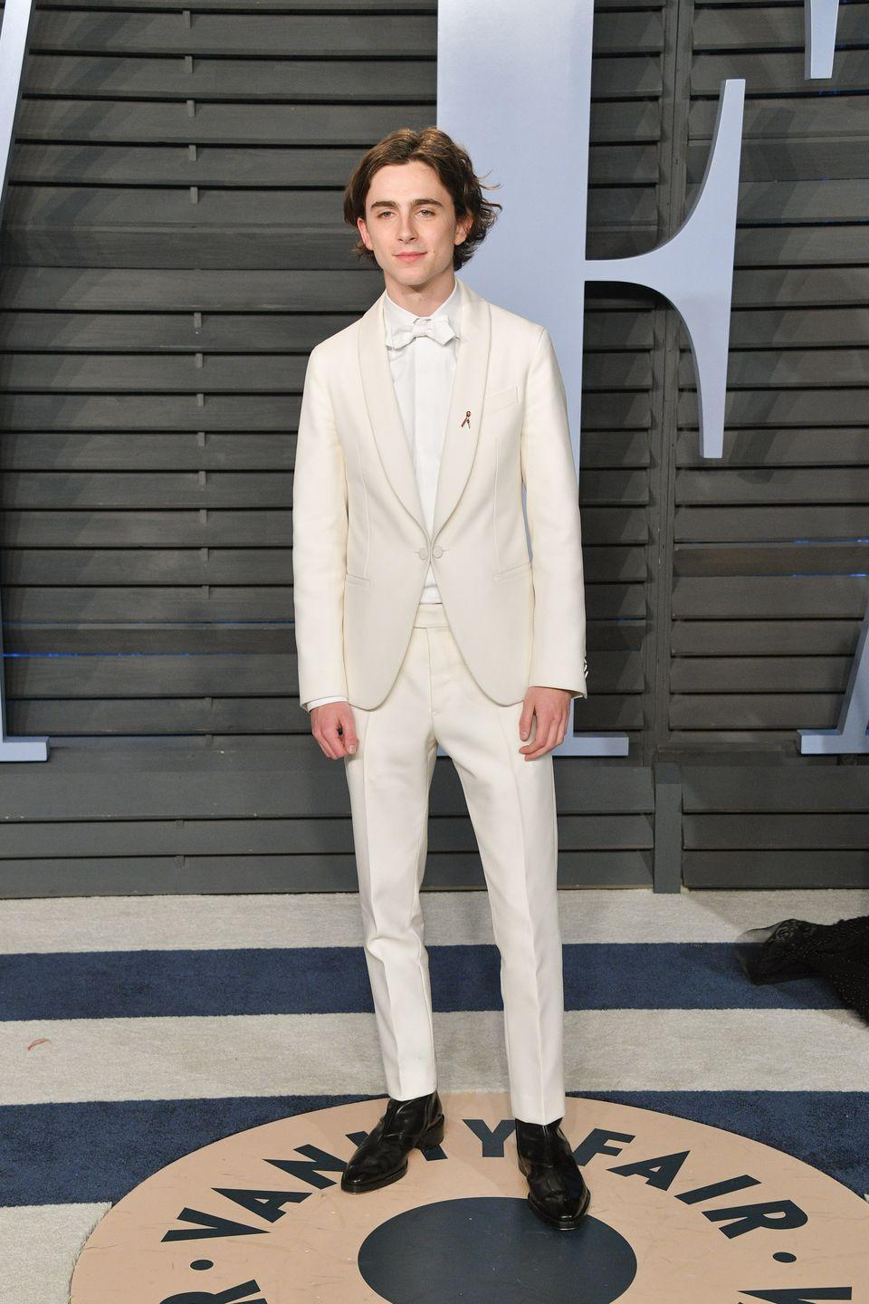 <p>In all-white, you won't look like an American ice cream server circa 1963. Nor will you look like a bad hotel piano player. You'll look great. Though, perhaps, not as great as Chalamet, who toned down the immaculate fit with long hair and few accessories.<br></p>