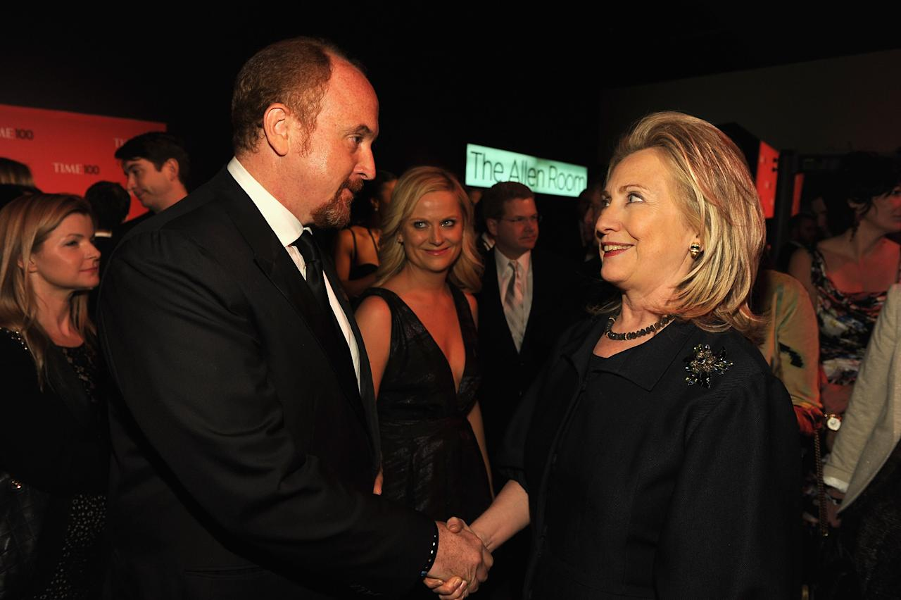 NEW YORK, NY - APRIL 24:  Actor / comedians Louis C.K., Amy Poehler and Secretary of State Hillary Rodham Clinton attend the TIME 100 Gala, TIME'S 100 Most Influential People In The World, cocktail party at Jazz at Lincoln Center on April 24, 2012 in New York City.  (Photo by Larry Busacca/Getty Images for TIME)