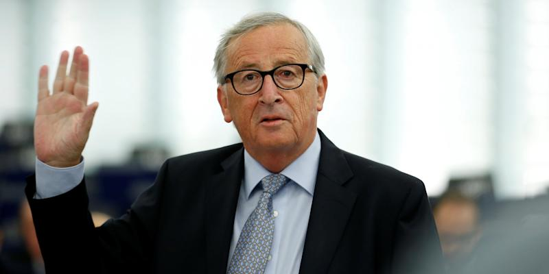 FILE PHOTO: European Commission President Jean-Claude Juncker addresses the plenary of the European Parliament on Britain's withdrawal from the European Union during a debate on Brexit at the European Parliament in Strasbourg, France, September 18, 2019. REUTERS/Vincent Kessler