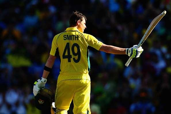SYDNEY, AUSTRALIA - MARCH 26: Steve Smith of Australia celebrates after reaching his century during the 2015 Cricket World Cup Semi Final match between Australia and India at Sydney Cricket Ground on March 26, 2015 in Sydney, Australia. (Photo by Mark Kolbe/Getty Images)