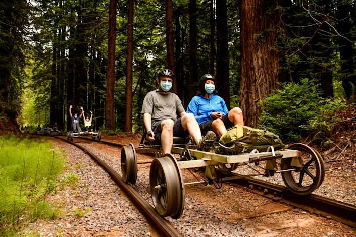 Fort Bragg's Skunk Train, a 19th-centjry rail route through redwood forests, has added Railbikes that allow visitors to pedal in pairs on the tracks.