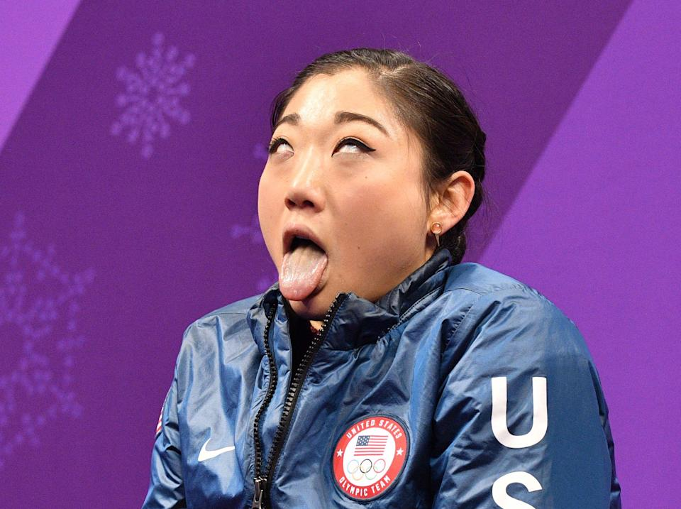 Mirai Nagasu reacts after her performance in the women's short program at the Winter Olympics. (Getty)