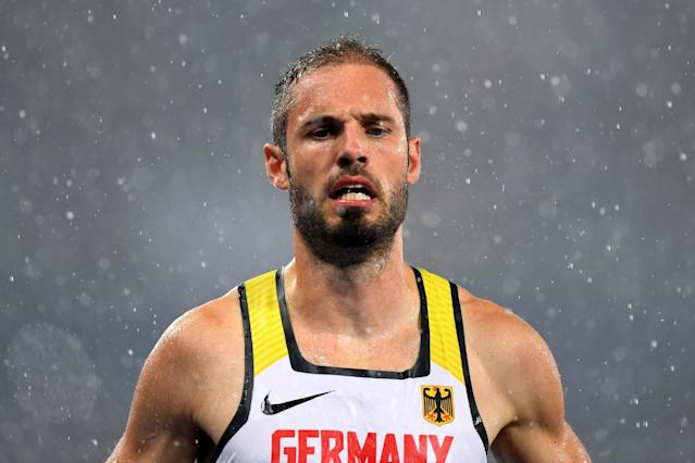 <p>Matthias Buhler of Germany reacts after the Men's 110m Hurdles Round 1 – Heat 2 on Day 10 of the Rio 2016 Olympic Games at the Olympic Stadium on August 15, 2016 in Rio de Janeiro, Brazil. (Getty) </p>