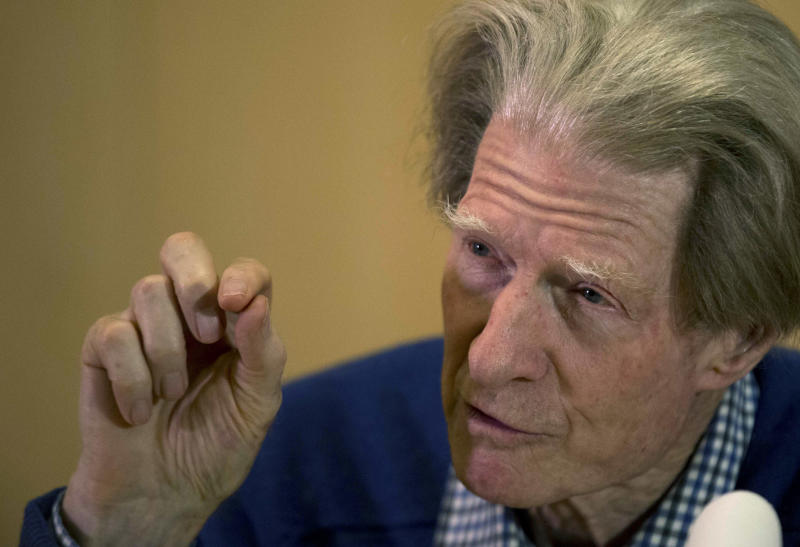 British scientist John Gurdon speaks during a news conference in London, Monday, Oct. 8, 2012. Gurdon and a Japanese scientist, Shinya Yamanaka, won the Nobel Prize in physiology or medicine on Monday for discovering that ordinary cells of the body can be reprogrammed into stem cells, which then can turn into any kind of tissue — a discovery that may led to new treatments. (AP Photo/Matt Dunham)