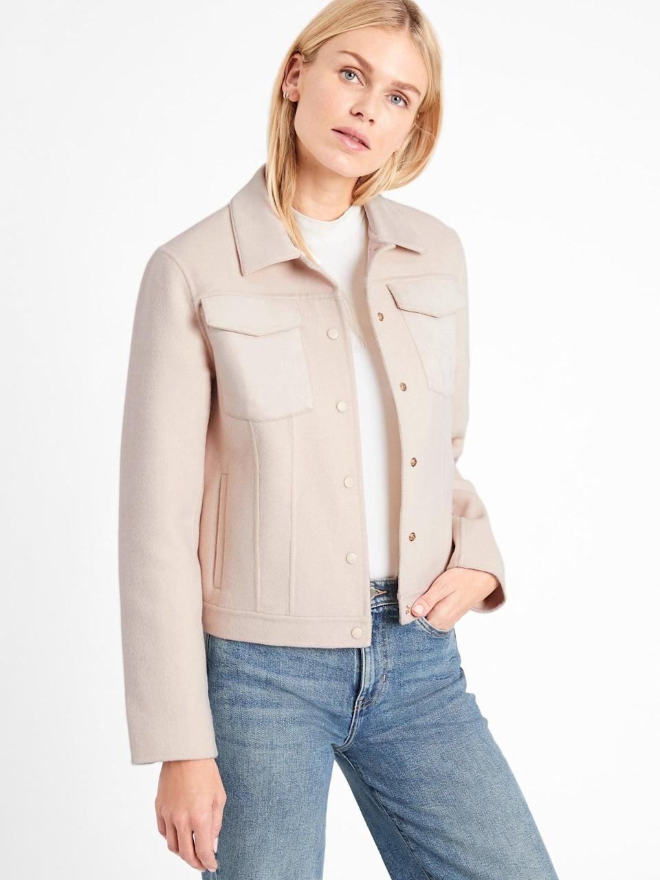 <p>I love the cut of this <span>Double-Faced Trucker Jacket</span> ($206, originally $229).</p>
