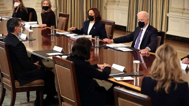 PHOTO: President Joe Biden and Vice President Kamala Harris meet with cabinet members and immigration advisors in the State Dining Room, March 24, 2021, in Washington, DC. (Chip Somodevilla/Getty Images)