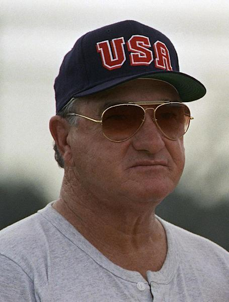 FILE - In this July 20, 1992, file photo, Olympic baseball coach Ron Fraser, the former coach at the University of Miami, attends team workouts in Tampa, Fla. Fraser, the longtime Miami baseball coach who won two national championships with the Hurricanes and whose innovative marketing ideas helped spark a surge in the college game's popularity, has died. Family spokesman Tony Segreto said Fraser died Sunday morning, Jan. 20, 2013. (AP Photo/Peter Cosgrove)