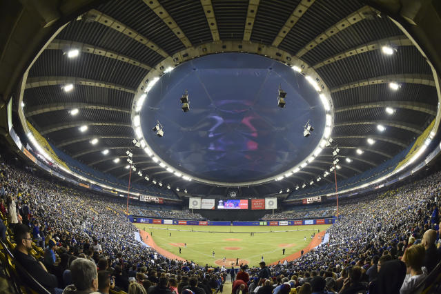 MONTREAL, QC - MARCH 26: General view of the game between the Toronto Blue Jays and the Milwaukee Brewers during MLB spring training at Olympic Stadium on March 26, 2019 in Montreal, Quebec, Canada. (Photo by Minas Panagiotakis/Getty Images)