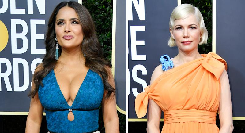 Salma Hayek and Michelle Williams are among celebrities who have worn Charlotte Tilbury's Pillow Talk lipstick, which is now on sale. (Getty Images)