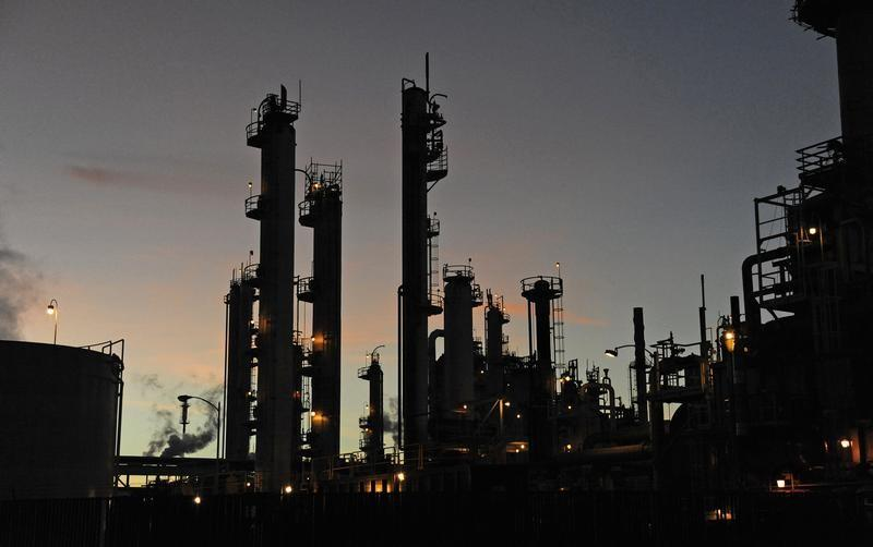 FILE PHOTO: A general view of the Tesoro refinery in Carson, California