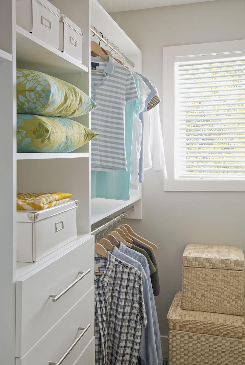 """<p>No room for a dresser? One or two sets of plastic or canvas hanging shelves <a href=""""https://www.womansday.com/home/organizing-cleaning/tips/g298/closet-organization-storage-ideas/"""" rel=""""nofollow noopener"""" target=""""_blank"""" data-ylk=""""slk:in the closet"""" class=""""link rapid-noclick-resp"""">in the closet</a> make choosing clothes much easier. </p><p><strong><a class=""""link rapid-noclick-resp"""" href=""""https://www.amazon.com/Hanging-Organizer-MaidMAX-Collapsible-Accessories/dp/B01GNN49Q8/?tag=syn-yahoo-20&ascsubtag=%5Bartid%7C10070.g.3310%5Bsrc%7Cyahoo-us"""" rel=""""nofollow noopener"""" target=""""_blank"""" data-ylk=""""slk:SHOP HANGING SHELVES"""">SHOP HANGING SHELVES</a></strong></p>"""