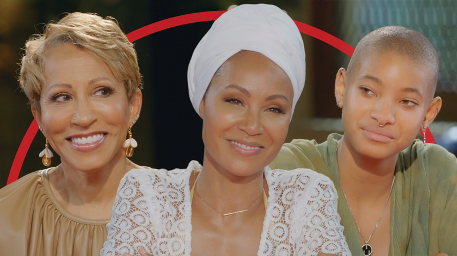 """Adrienne Banfield-Jones, left, Jada Pinkett Smith and Willow Smith discussed ways for relationships to survive quarantine in an April episode of """"Red Table Talk."""""""