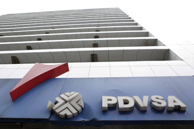 The PDVSA logo is seen at a gas station in Caracas